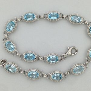 Jewelry - Sterling Silver Bracelet with Natural Blue Topaz